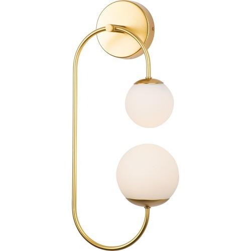 Kinkiet podwójny glamour Toro LED biało-złoty MaxLight do sypialni i salonu.