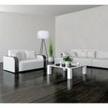 Lampa podłogowa trójnóg z abażurem Tripod III biało-czarna MaxLight do salonu i sypialni.