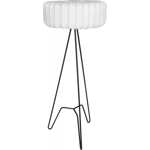 Lampa podłogowa trójnóg z abażurem Tripod II biało-czarna MaxLight do salonu i sypialni.