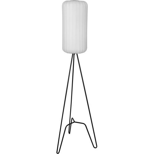 Lampa podłogowa trójnóg z abażurem Tripod I biało-czarna MaxLight do salonu i sypialni.