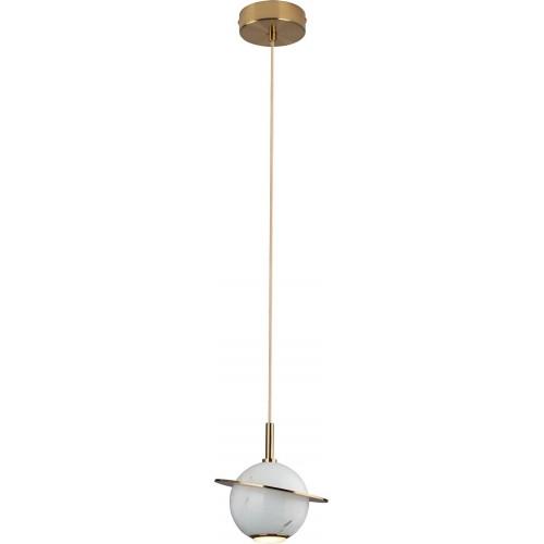 Lampa wisząca kula glamour Uranos LED biały marmur MaxLight do salonu i jadalni.