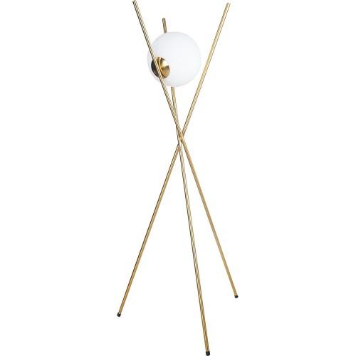 Lampa szklana podłogowa glamou Xena biało-złota MaxLight do salonu i sypialni.