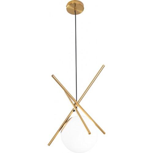 Lampa szklana wisząca kula glamour Xena biało-złota MaxLight do salonu i jadalni.
