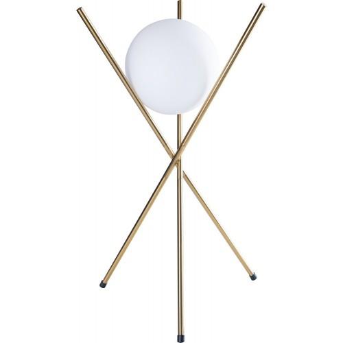 Lampa stołowa szklana kula glamour Xena biało-złota MaxLight do salonu lub na szafkę w sypialni.