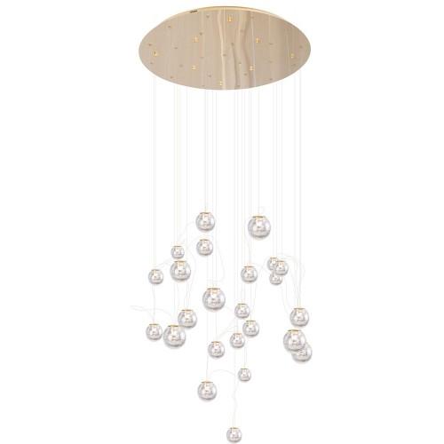 Lampa szklana wiszące kule glamour Zoe 80 LED złota MaxLight do salonu i jadalni.