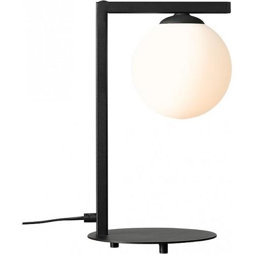 Lampa stołowa szklana kula Zac Black...