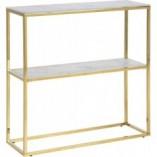 Konsola szklana glamour z półką Alisma 79 biały marmur/złoty Actona do przedpokoju i salonu