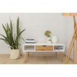 Stolik skandynawski z szufladą i półkami Box 110 biało-dębowy Moon Wood do salonu
