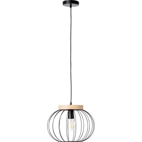 Lampa wisząca druciana kula Sorana 35 czarno-drewniana Brilliant do salonu