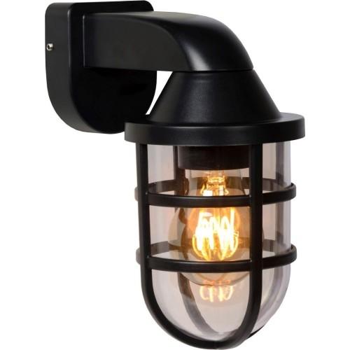 Elewacyjny Kinkiet zewnętrzny latarnia Lewis czarny Lucide przed dom i na taras