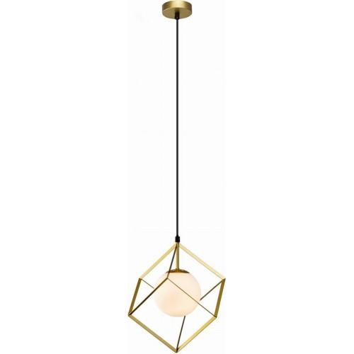 Stylowa Lampa wisząca kwadratowa Sybilla 20 mosiężno-biała Auhilon do kuchni i salonu