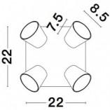 Regulowany Reflektor sufitowy Gioba IV biały piaskowy do przedpokoju i kuchni