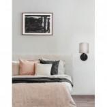 Stylowy Kinkiet klasyczny z abażurem Tona czarno-szary do sypialni