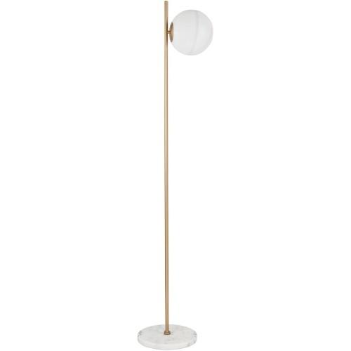 Designerska Lampa podłogowa szklana kula glamour Pekin mosiądz/złoty/biały do salonu