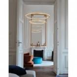Designerska Lampa wisząca okrągła podwójna Nolion 60 LED mosiądz/złoty do kuchni i salonu