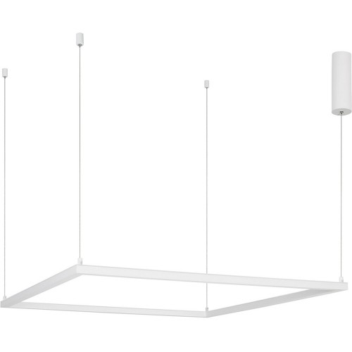 Designerska Lampa wisząca kwadratowa Natan 100 LED biały piaskowy do kuchni i salonu