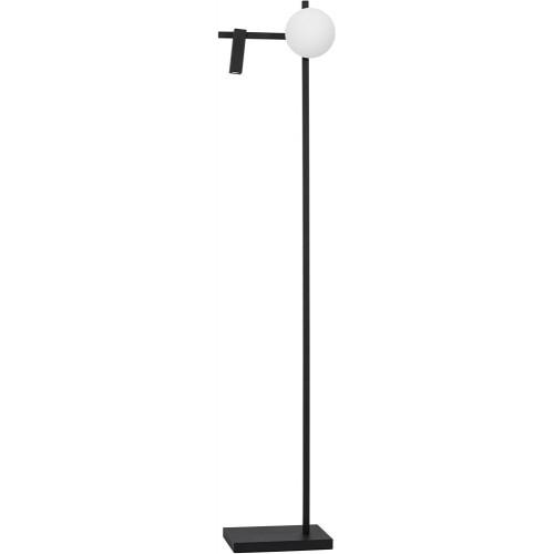 Designerska Lampa podłogowa szklana kula z lampką do czytania Pauline LED czarny piaskowy/biały do salonu