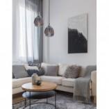 Designerska Lampa wisząca szklana glamour Leyzo 18 chrom/szary dymiony do kuchni i salonu