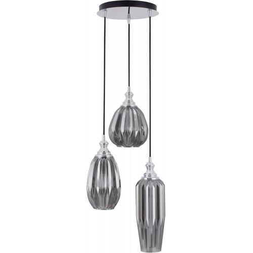 Designerska Lampa wisząca szklana glamour Leyzo III chrom/szary dymiony do kuchni i salonu