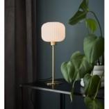 Stylowa Lampa stołowa szklana Sober 15 biało-mosiężna Markslojd sypialni
