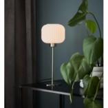 Stylowa Lampa stołowa szklana Sober 15 biało-stalowa Markslojd sypialni
