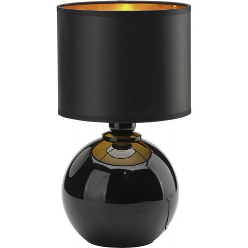 Stylowa Lampa stołowa szklana z abażurem Palla Small czarno-złota TK Lighting sypialni