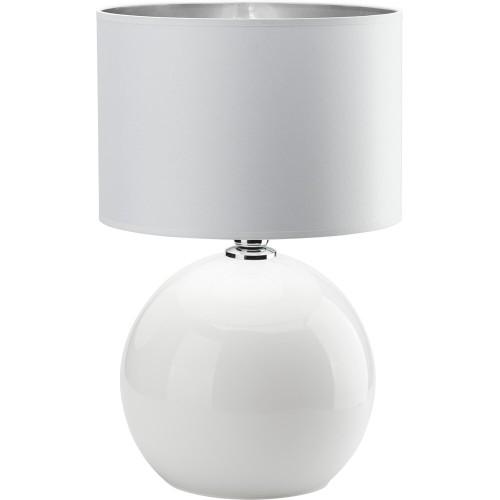 Stylowa Lampa stołowa szklana z abażurem Palla biało-srebrna TK Lighting sypialni