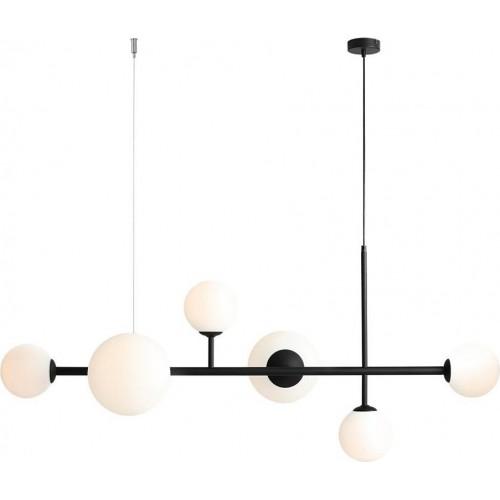Designerska Lampa wisząca szklane kule Dione 130 biało-czarna Aldex do salonu