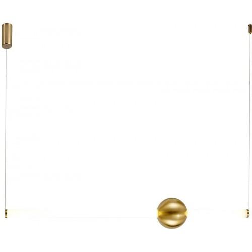 Stylowa Lampa wisząca podłużna glamour O-line 91 LED mosiężna Step Into Design do kuchni i salonu