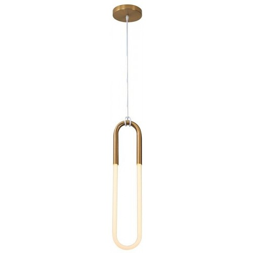 Stylowa Lampa wisząca designerska U-shape 13 LED biało-mosiężna Step Into Design do kuchni i salonu