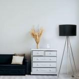 Stylowa Lampa podłogowa trójnóg z abażurem Inga czarno-złota Zumaline do sypialni i salonu