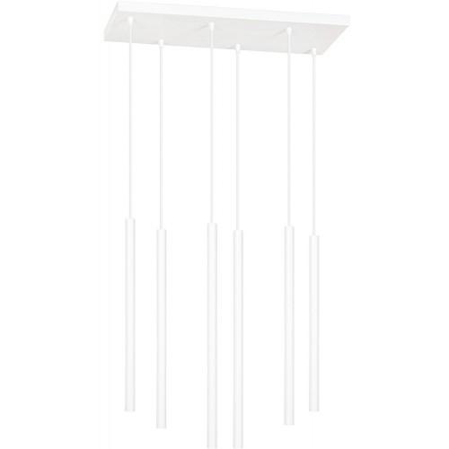 Nowoczesna Lampa wiszące tuby Selter VI biała Emibig nad stół
