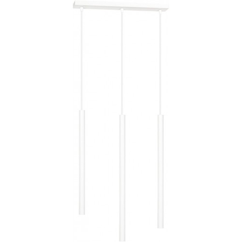 Nowoczesna Lampa potrójna wiszące tuby Selter III biała Emibig nad stół
