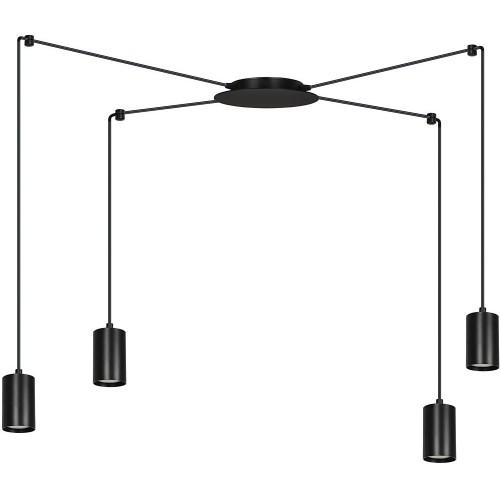 """Nowoczesna Lampa wisząca """"pająk"""" regulowana Traker IV czarna Emibig nad stół"""
