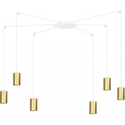 """Nowoczesna Lampa wisząca """"pająk"""" glamour Traker VI biało-złota Emibig nad stół"""