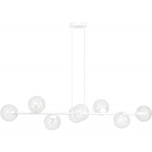 Nowoczesna Lampa wisząca podłużna szklane kule Rossi VIII biało-przezroczysta Emibig nad stół