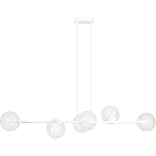 Nowoczesna Lampa wisząca podłużna szklane kule Rossi VI biało-przezroczysta Emibig nad stół