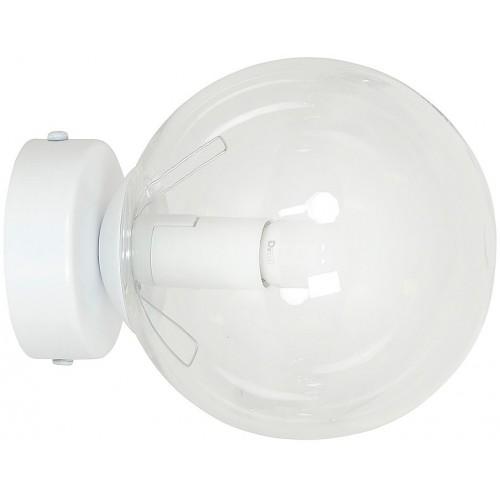 Stylowy Kinkiet szklana kula Rossi 15 biało-przezroczysty Emibig do sypialni i salonu