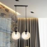 Nowoczesna Lampa wisząca szklane kule Cosmo II czarno-miodowa Emibig do kuchni i salonu