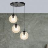Nowoczesna Lampa wisząca szklane kule Cosmo III premium czarno-miodowa Emibig nad stół