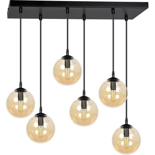 Nowoczesna Lampa wisząca szklane kule Cosmo VI czarno-miodowa Emibig nad stół