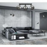 Designerski Plafon kierunkowy szklany Tofi III czarno-grafitowy Emibig do sypialni i salonu