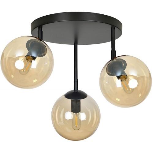 Designerski Plafon kierunkowy szklany Tofi IIIA premium czarno-miodowy Emibig do sypialni i salonu