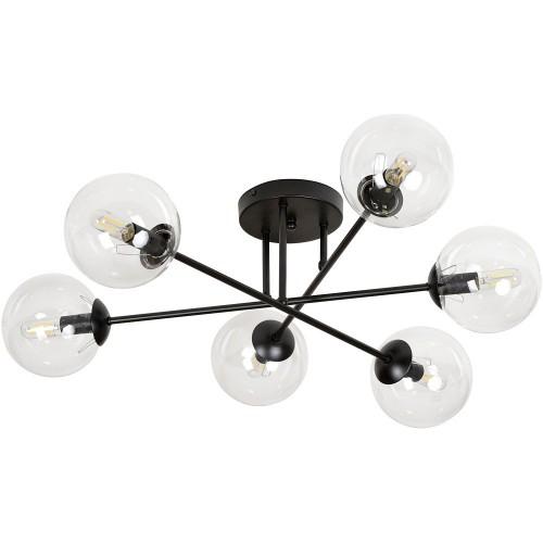 Stylowa Lampa sufitowa szklane kule Brendi VIB czarno-przezroczysta Emibig do salonu i jadalni