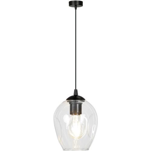 Nowoczesna Lampa wisząca szklana Istar 14 czarno-przezroczysta Emibig do kuchni i salonu