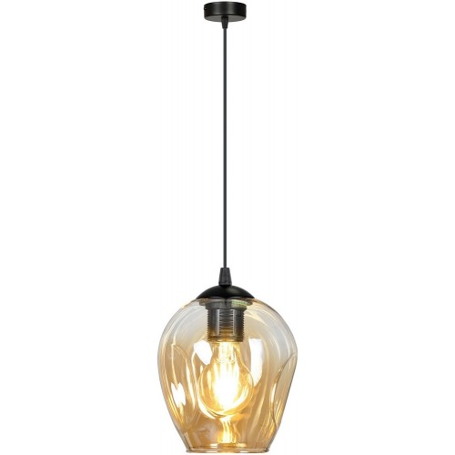 Nowoczesna Lampa wisząca szklana Istar 14 czarno-miodowa Emibig do kuchni i salonu