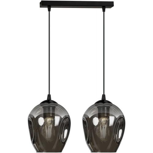 Nowoczesna Lampa wisząca szklana podwójna Istar II czarno-grafitowa Emibig do kuchni i salonu