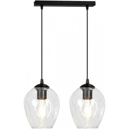 Nowoczesna Lampa wisząca szklana podwójna Istar II czarno-przezroczysta Emibig do kuchni i salonu