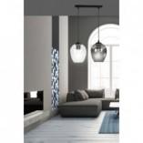 Nowoczesna Lampa wisząca szklana podwójna Istar II przezroczysto-grafitowa Emibig do kuchni i salonu