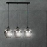 Nowoczesna Lampa wisząca szklana potrójna Istar III czarno-grafitowa Emibig nad stół